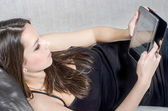 The girl with tablet — Stock Photo
