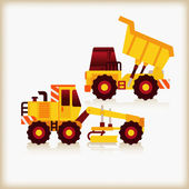 Motor grader and dumper — Stock Vector