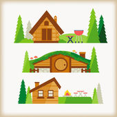 Cabin in the valley — Stock Vector