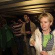 The leader of the Russian ecologists Yevgeniya Chirikova been in the subway, where protesters drove to the police, the shares of Russian opposition for fair elections, may 6, 2012, Moscow, Russia — Foto de Stock