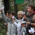 Russian environmentalist Yevgeniya Chirikova support crew arrested ship Greenpeace Arctic Sunrise — Foto de Stock