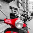Red scooter in italy in a chroma key processing — Stock Photo #51674227