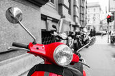 Red scooter in italy in a chroma key processing — Stock Photo
