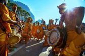 KUALA LUMPUR - JANUARY 27: Urumi melam drums brigade accompany the Hindu devotees in their procession to the Batu Caves temple on January 27, 2013 at the Thaipusam festival in Kuala Lumpur, Malaysia. — Stock Photo