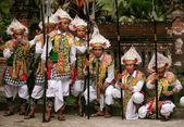 Balinese men dressed as warriors — Stock Photo