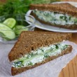 Sandwich with cottage cheese, cucumber and dill — Stock Photo #46557035