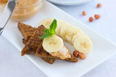 Peanut butter sandwiches with banana  — Stock Photo