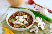 Vegetarian soup with tofu and mushrooms — Stock Photo