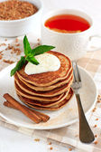 Buckwheat pancakes with banana — Stock Photo