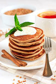 Buckwheat pancakes with banana — Stock Photo