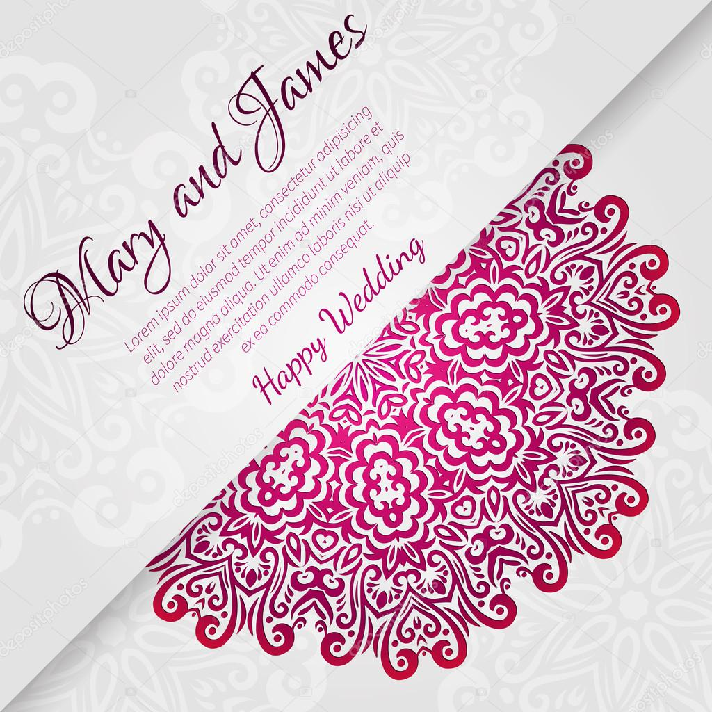 Lacy vector wedding card template. Romantic vintage wedding invitation ...