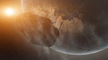 Asteroid Over Earth (Cinema HDTV FX) — Stock Video