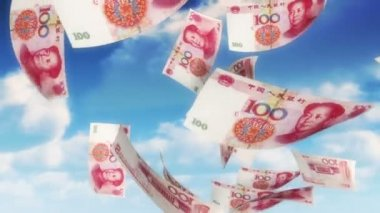 Money from Heaven - CNY - RMB (Loop) — Stock Video