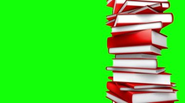 Red Books Stack (Loop on Green Screen) — Stock Video