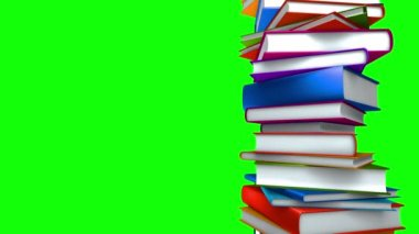 Colorful Books Stack (Loop on Green Screen) — Stock Video