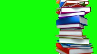 Pilha de livros coloridos (loop na tela verde) — Vídeo stock