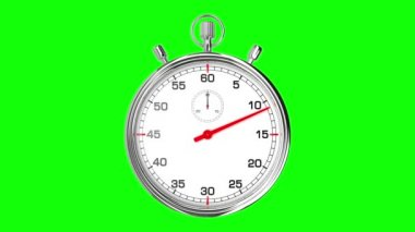 Stopwatch Loop Realtime (Green Screen) — Stock Video