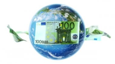 EUR Banknotes Around Earth on White (Loop) — Stock Video