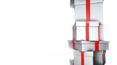 Pile of Gifts White (Loop) — Vídeo Stock