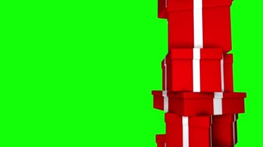 Pile of Gifts Red (Loop on Green Screen) — Vídeo Stock