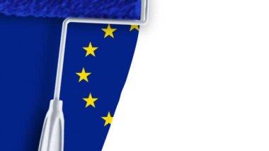 Painting Flag - EU — Stock Video