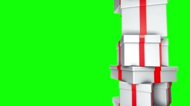 Pile of Gifts White (Loop on Green Screen) — Vídeo Stock