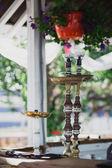 Hookahs standing on the bar — Stock Photo