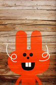 Red smiling Easter bunny — Stockfoto