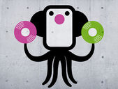 Black music octopus character — Stock Photo