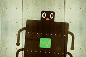 Robot on Wall background — Stock Photo