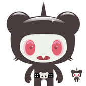 Horror bear character — Vector de stock