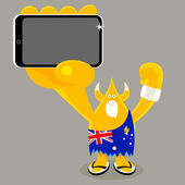 Aussie freak with mobile device — Stock Vector