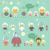 Many different aliens — Stock Vector