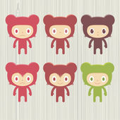 Bear character set — Vettoriale Stock