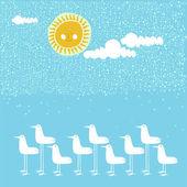 Seagulls  on a beach — Stock Vector