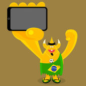 Brazilian  freak holding a mobile device — Stock Vector