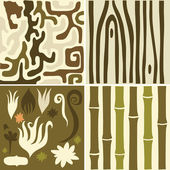 Set of floral khaki  patterns — Stock Vector