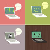 Laptops with facial expressions — Stock Vector