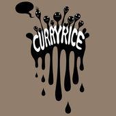 Curry rice emblem — Stock vektor