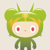 Creature in Green costume — Stock Vector