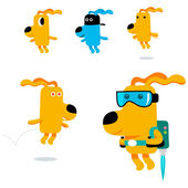Flying   dogs — Stock Vector
