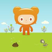 Bear  in  countryside — Stock Vector