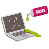 Laptop  being glued shut — Stock Vector