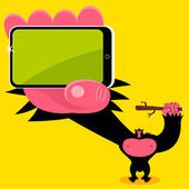 Gorilla holding a branch and a mobile phone with blank screen — Stock Vector
