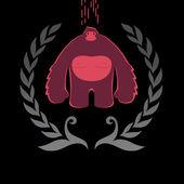 Ape gorilla in  wreath — Stock Vector