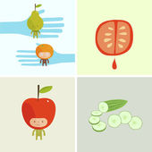 Fruits and vegetables — Stock Vector