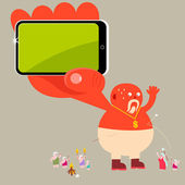 Giant with mobile phone — Stock Vector