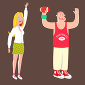 Sporting  couple — Vector de stock