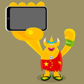 Chinese football freak character holding a mobile device with a blank screen — Stock Vector