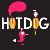 Word Hot dog and two characters — Stock Vector